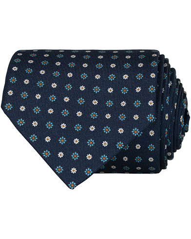 E. Marinella 3-Fold Printed Flower 8 cm Silk Tie Navy  i gruppen Assesoarer / Slips hos Care of Carl (16683010)