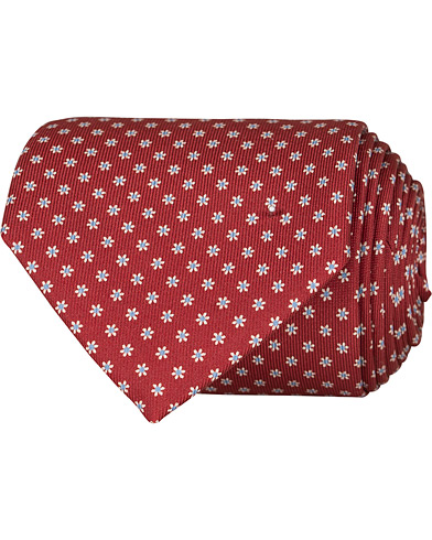 E. Marinella 3-Fold Printed Dots 8 cm Silk Tie Burgundy  i gruppen Assesoarer / Slips hos Care of Carl (16683910)