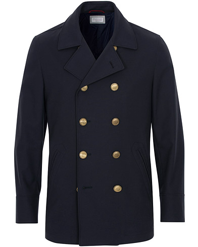 Brunello Cucinelli Double Crepe Cotton Coat Dark Navy