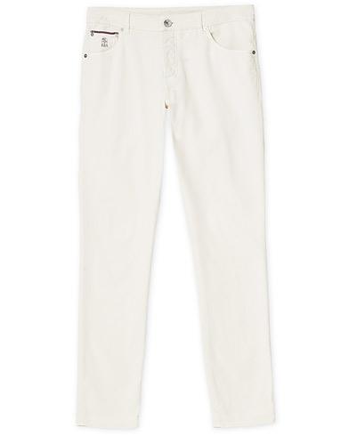 Brunello Cucinelli Slim Fit 5-Pocket Cotton Twill Pants Off White