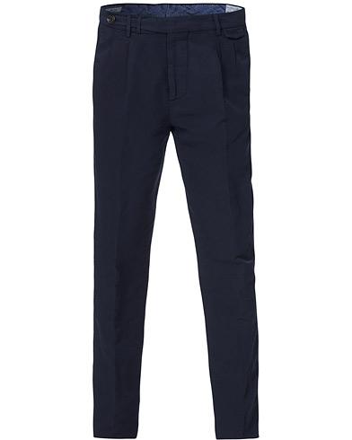 Brunello Cucinelli Slim Fit Cotton/linen Pleated Trousers Navy