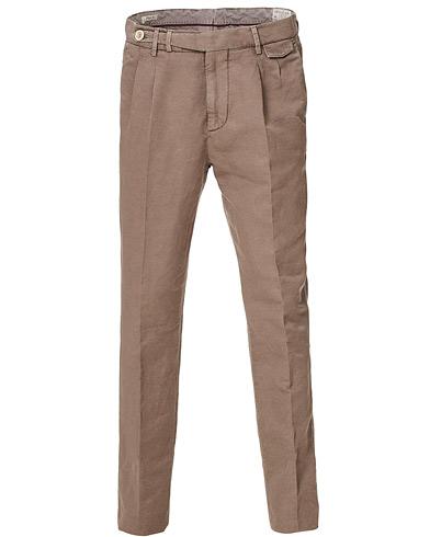 Brunello Cucinelli Slim Fit Cotton/linen Pleated Trousers Brown 46