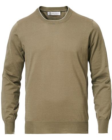 Brunello Cucinelli Crew Neck Cotton Contrast Pullover Olive Green