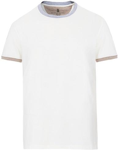 Brunello Cucinelli Contrast Collar Short Sleeve T-Shirt White/Grey