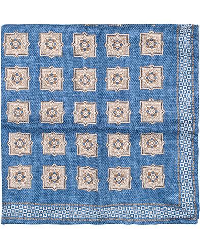 Brunello Cucinelli Medallion Print Pocket Square Blue/Brown