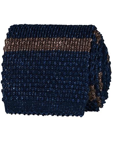 Brunello Cucinelli Striped Knitted Tie Navy/Brown