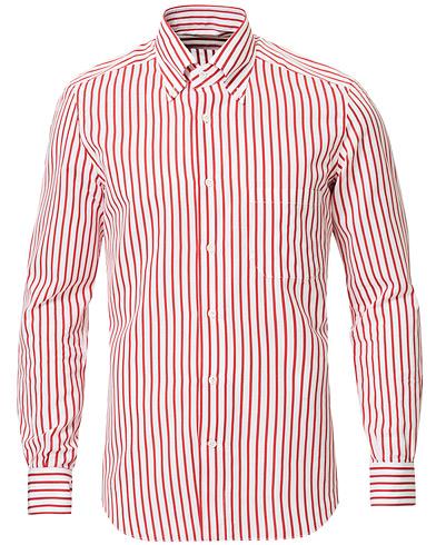 Mazzarelli Soft Cotton/Linen Pocket Sport Shirt White/Red