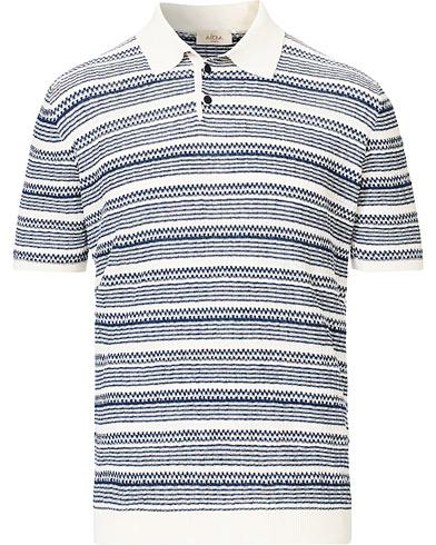 Altea Jacquard Knitted Polo White/Blue
