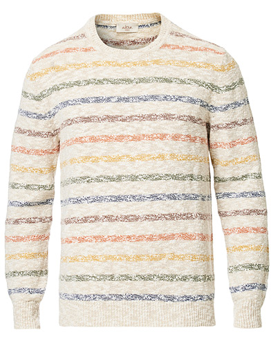Altea Cotton/Linen Multi Stripe Sweater Beige