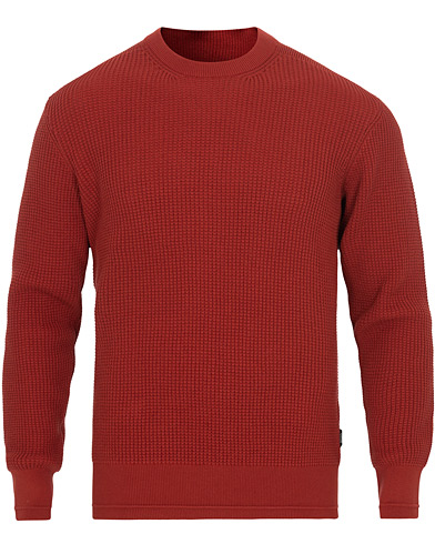 Z Zegna Waffle Knitted Sweater Dark Orange
