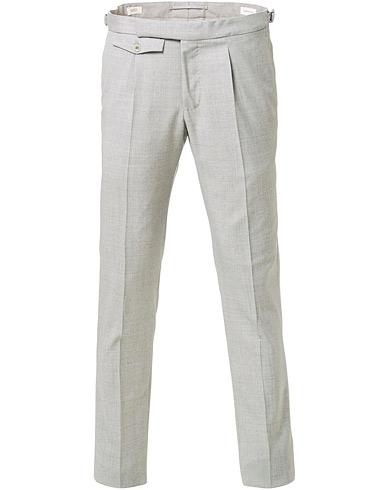 Incotex Slim Fit Pleated Super 100's Wool Trousers Light Grey