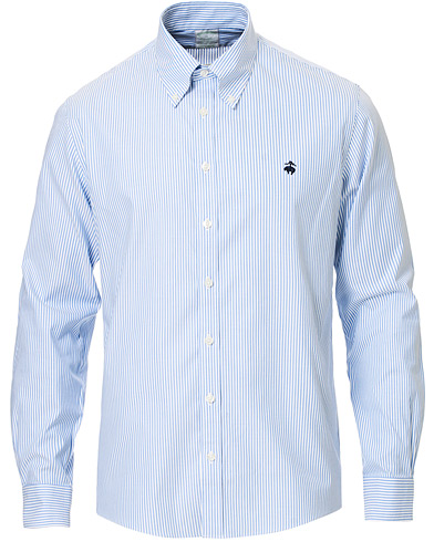 Brooks Brothers Milano Fit Non Iron Striped Shirt Light Blue i gruppen Klær / Skjorter / Casual hos Care of Carl (16745911r)