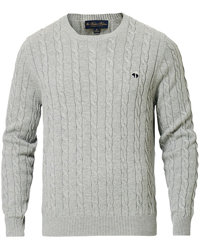 Brooks Brothers Cotton Cable Crew Neck Sweater Heather Grey i gruppen Klær / Gensere / Strikkede gensere hos Care of Carl (16747811r)