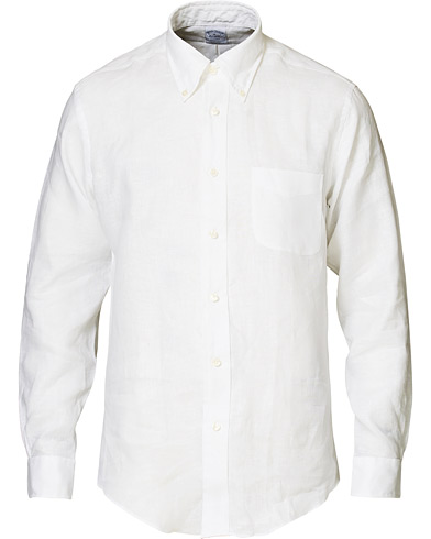 Brooks Brothers Regent Fit Irish Linen Button Down Shirt White i gruppen Klær / Skjorter / Casual hos Care of Carl (16749211r)