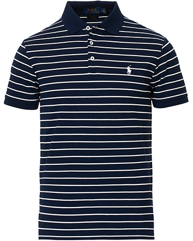 Polo Ralph Lauren Slim Fit Stretch Mesh Stripe Polo White/Navy i gruppen Klær / Pikéer / Kortermet piké hos Care of Carl (16771911r)