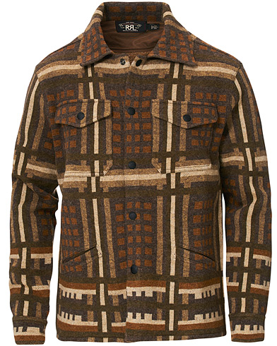 RRL Wool Workshirt Sweater Brown Multi