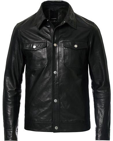 J.Lindeberg Matt Leather Jacket Black