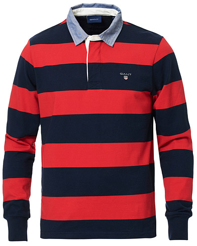 GANT The Original Barstripe Heavy Rugger Bright Red i gruppen Klær / Gensere / Rugbygensere hos Care of Carl (16863911r)