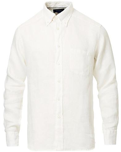 Eton Slim Fit Linen Button Down Shirt Cream