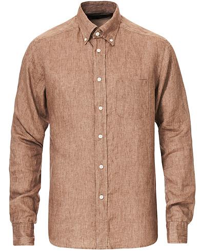 Eton Slim Fit Linen Button Down Shirt Light Brown