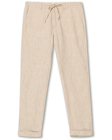 Morris Windslow Linen Turn Up Drawstring Trousers Khaki