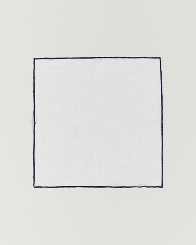 Amanda Christensen Linen Paspoal Pocket Square White/Navy