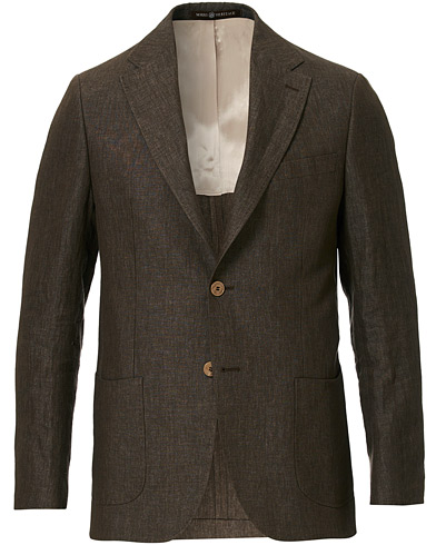 Morris Heritage Mike Patch Pocket Linen Blazer Brown
