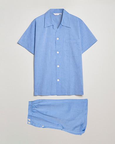 Derek Rose Shortie Cotton Pyjama Set Blue