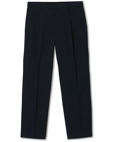 Filippa K Samson Loose Fit Pleated Cotton Trousers Navy