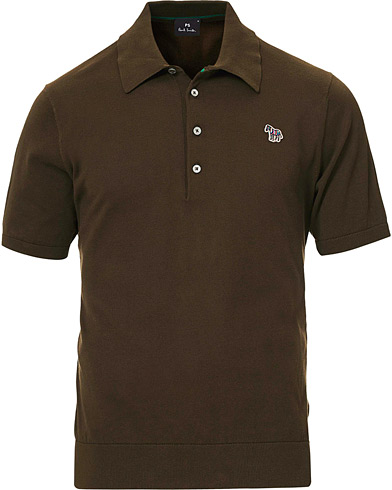 PS Paul Smith Combed Cotton Knitted Polo Dark Green