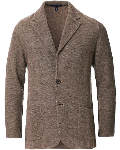 Lardini Knitted Linen/Silk Blazer Brown