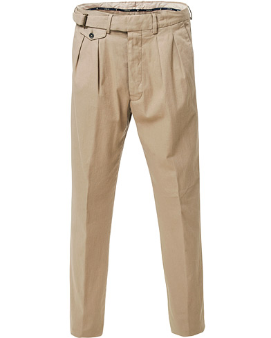 Lardini Luxor Double Pleated Cotton Trousers Beige