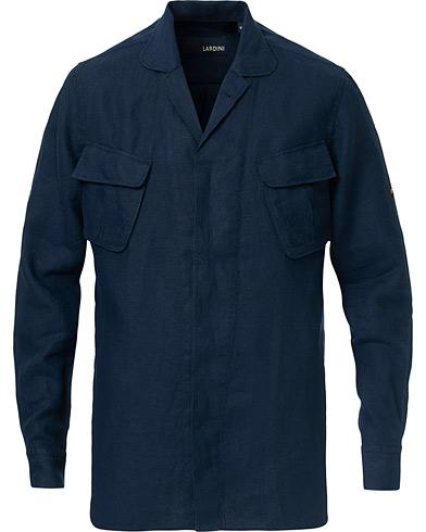 Lardini Double Pocket Linen Shirt Navy