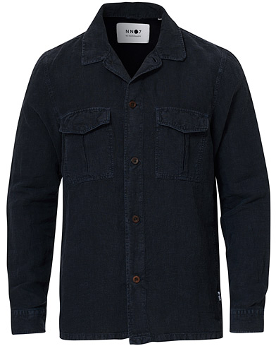 NN07 Berner Linen Safari Overshirt Navy i gruppen Klær / Skjorter / Casual / Overshirts hos Care of Carl (17106111r)