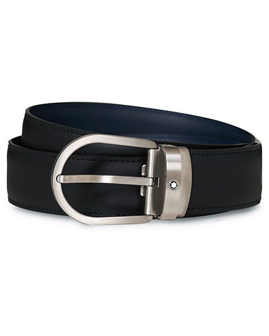 Montblanc Matt Buckle Reversible 32mm Leather Belt Black/Blue i gruppen Assesoarer / Belter / Umønstrede belter hos Care of Carl (17166710)