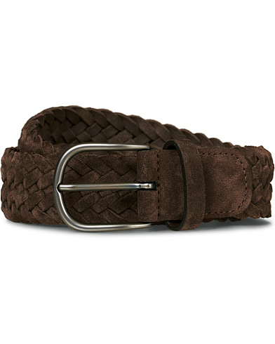 Anderson's Braided Suede 3,5 cm Belt Dark Brown i gruppen Assesoarer / Belter / Flettede belter hos Care of Carl (19068611r)
