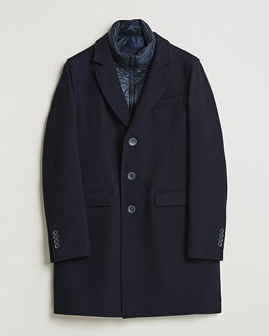 Herno Wool Zip Coat Navy