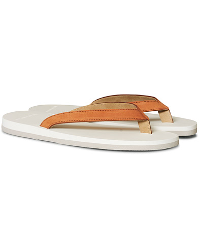 The Resort Co Nubuck Leather Flip-Flop Cuoio/White