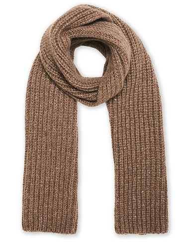 Johnstons of Elgin Heavy Knitted Cashmere Scarf Otter Mix