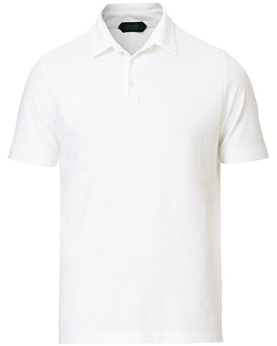 Zanone Ice Cotton Short Sleeve Polo White i gruppen Klær / Pikéer / Kortermet piké hos Care of Carl (19604011r)