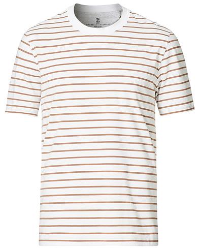 Brunello Cucinelli Breton Stripe Short Sleeve T-Shirt White/Brown