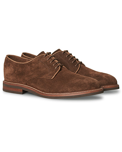 Brunello Cucinelli Plain Toe Derby  Dark Brown Suede i gruppen Sko / Derbys hos Care of Carl (20337411r)