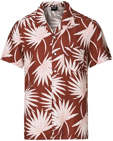 BOSS Casual Rhythm Printed Resort Collar Short Sleeve Shirt Rust