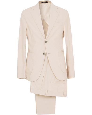 Edgar Cotton Stretch Patch Pocket Suit Beige