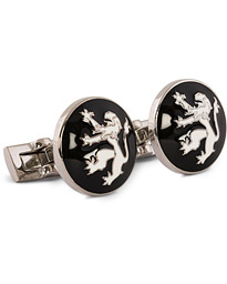 Cuff Links The Lion Silver/Black/White