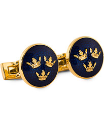 Cuff Links Tre Kronor Gold/Royal Blue