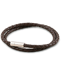 Two Row Leather Bracelet Dark Brown Steel