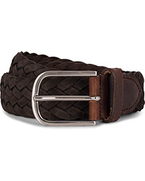 Braided Suede 4 cm Belt Dark Brown