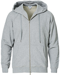 Sunspel Loopback Full Zip Hoodie Grey Melange