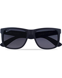 0RB4165 Justin Polarized Wayfarer Sunglasses Black/Grey